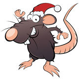 Rat dans le chapeau du père noël Images libres de droits