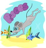 Rat die met masker duiken royalty-vrije illustratie