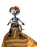 Rat die op een boot zwemt Stock Afbeelding