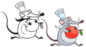Rat. Doodle and colorful rat cook with apple Royalty Free Stock Photography
