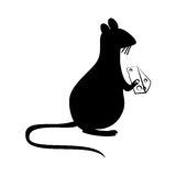 Rat eating cheese silhouette Stock Photo