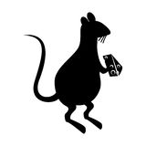 Rat eating cheese silhouette Royalty Free Stock Photography