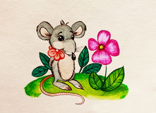 Rat with a flower. Watercolor painting Stock Image