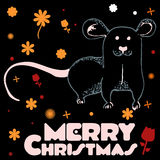 Rat with flowers wishes Merry Christmas Royalty Free Stock Images