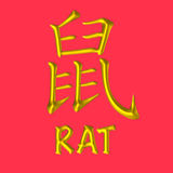 Rat golden Chinese zodiac. A 3D gold Chinese letter with English word on lucky red background. One of the twelve animals in 12-years cycles, under Chinese Stock Photo
