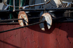 Rat guards for mooring lines Royalty Free Stock Images