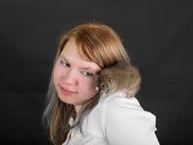 Rat on his shoulder Stock Images