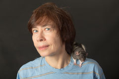 Rat on his shoulder Royalty Free Stock Photography