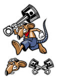 Rat mascot holding a big piston Stock Images