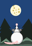 Rat and the moon from cheese. Cute rat and the moon from cheese Royalty Free Stock Images