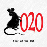 Rat, mouse as symbol for year 2020 by Chinese traditional horoscope with grass.  Stock Images