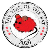 Rat, mouse chinese horoscope animal sign. The vector stamp art image in decorative style Royalty Free Stock Images