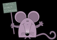 Rat / mouse holding a sign. Royalty Free Stock Image