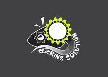 Rat Mouse Mice Gear Work Solution Logo Design royalty free stock photo