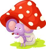 Rat with mushroom vector Stock Image