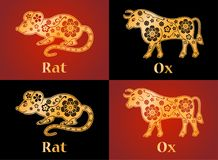 Rat, Ox, mouse, symbols of the Chinese horoscope 2020, 2021 year. Rat, Ox, mouse. Symbols of the Chinese horoscope 2020 and 2021 years. Floral gold ornament Royalty Free Stock Image