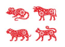 Rat, Ox, Tiger, Cat. Symbols of the Chinese horoscope 2020, 2021 years. Floral ornament stock illustration