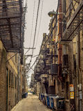 Rat Pack Alley - backstreet Chinatown. Back alley with rat warnings - Chicago Chinatown Stock Image