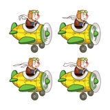 Rat Pilot Animation Sprite. Cartoon Illustration of Mouse Pilot Animation Sprite for game Stock Images
