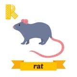 rat R brief Leuk kinderen dierlijk alfabet in vector Grappige ca Royalty-vrije Stock Foto
