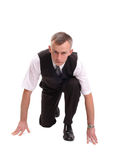 Rat race. Businessman getting ready for corporate race - rat race concept Royalty Free Stock Images