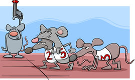Rat race cartoon illustration Royalty Free Stock Photography