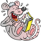 Rat reading. Mouse laughs and reads a book Stock Photo