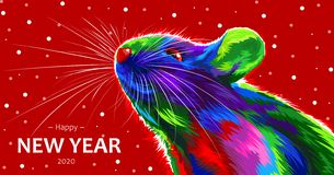 Rat on a red background. Symbol of the Chinese New Year 2020. multicolored, bright animal for a card or calendar. vector mouse.