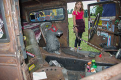 Rat Rod. An admirer checks out a rat rod at the Guntersville Rescue Squad car show Saturday, May 27, 2017, in north Alabama, over Memorial Day weekend Stock Photo