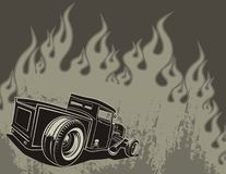 Rat rod on a background. With flame. Vector illustration Royalty Free Stock Photo