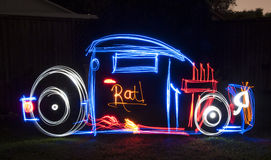 Rat Rod Light Painting Image Stock Photography