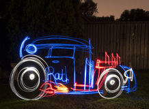 Rat Rod Light Painting Image Stock Photo