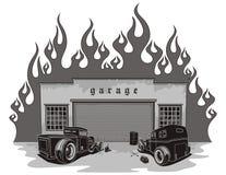 Rat rods garage. Vector illustration Royalty Free Stock Photos