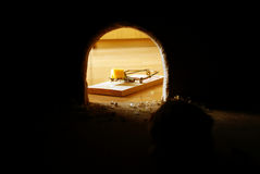 Rat's hole. Dark and trap with cheese Royalty Free Stock Images