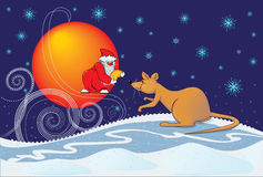 Rat and Santa Claus Royalty Free Stock Photo