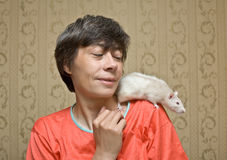 Rat on a shoulder Stock Photos
