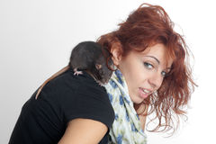 Rat on a shoulder Stock Photography
