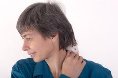 Rat on the shoulder of a woman Royalty Free Stock Photography
