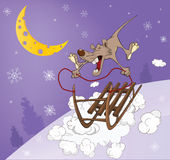 Rat and sled. Cartoon Royalty Free Stock Photography