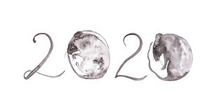 The rat is a symbol of the new year 2020. Abstract illustration of numbers for calendar. Instead of zeros of a rat curled up in a. Ball. Watercolor illustration stock images