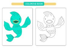 Coloring book for kids. Cute cartoon fish. Vector illustration. stock illustration