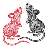 Rat vector illustration.Chinese zodiac and horoscope sign with line art Stock Photo