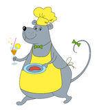 Rat-waiter with sausage Royalty Free Stock Images