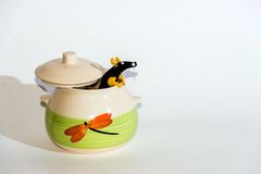 Rat in white pot collage . Stock Images