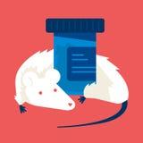 Rata con las drogas, ejemplo médico del laboratorio del concepto stock de ilustración