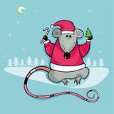 Rata de Santa con el caramelo y el árbol Imagen de archivo libre de regalías