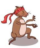 Rata estilizada de la historieta que hace artes marciales stock de ilustración