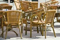 Ratan furniture on terrace stock images