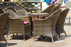 Ratan furniture on terrace. Photo of a terrace with ratan furniture in summer Stock Photo