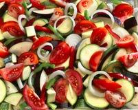 ratatouille ακατέργαστα τεμαχισμένα λαχανικά Στοκ Φωτογραφίες